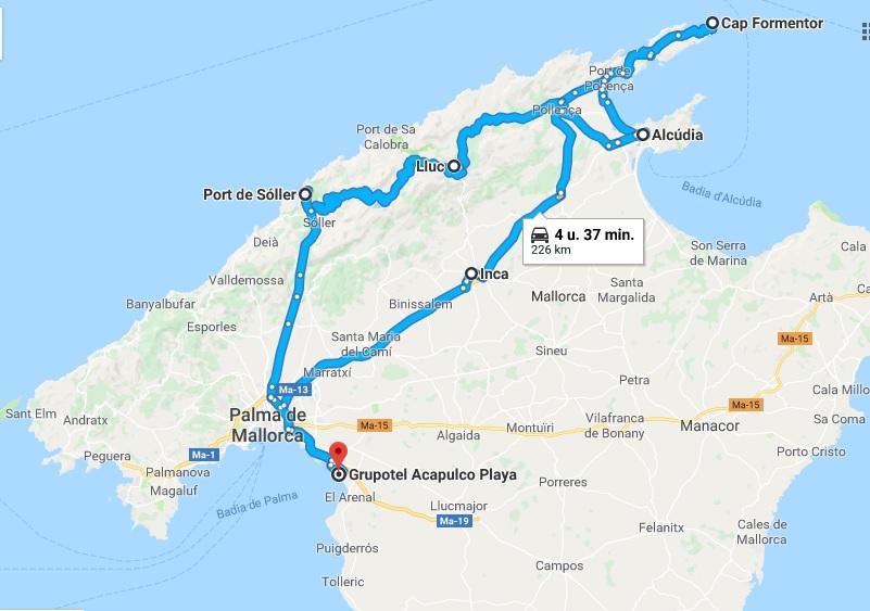 De route van de tour die we gemaakt hebben over Mallorca.