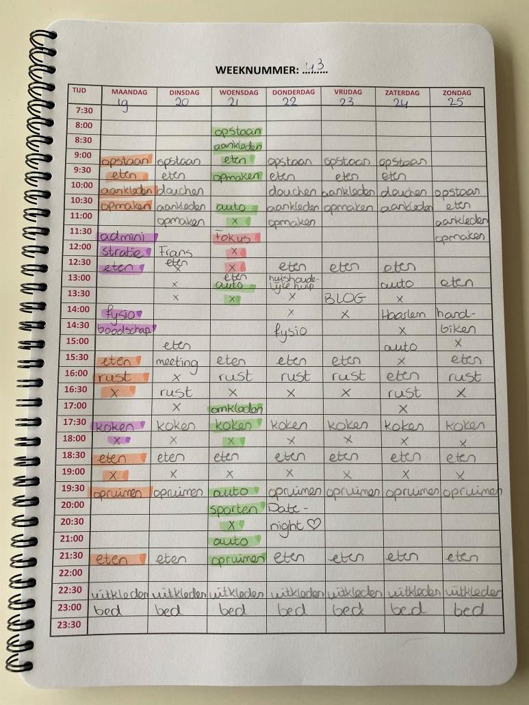 Foto van de ingevulde weekplanning van Manon.
